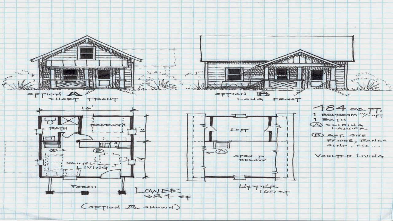 Small cabin plans with loft small cabin floor plans for Cottage construction plans