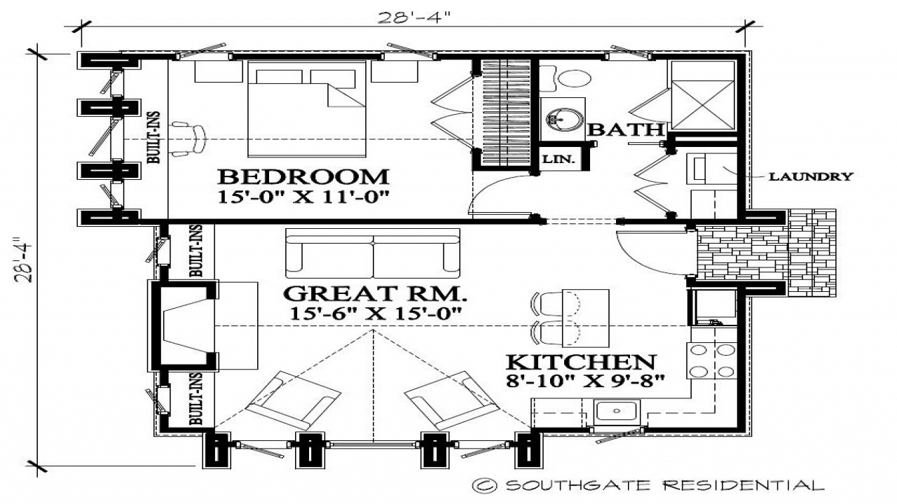 Small two bedroom house plans small house floor plan great for Great room house plans