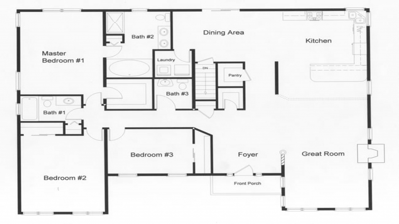 3 Bedroom Ranch House Open Floor Plans Three Bedroom Two Bath Ranch Floor Plans For 3 Bedroom