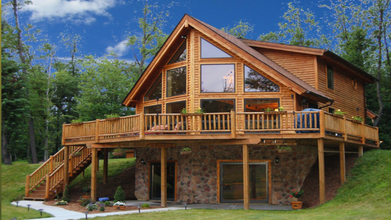 Lake front cabins log cabin lake house plans log home for Open floor plans log homes