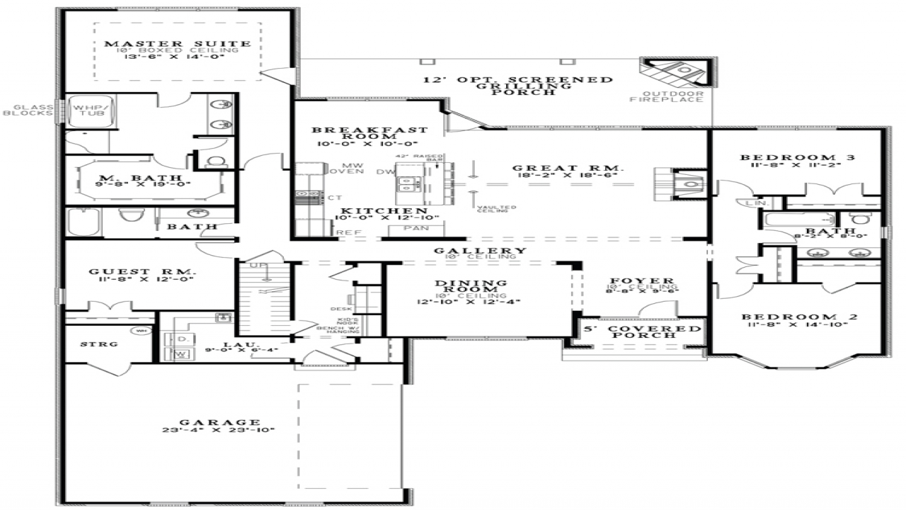 Open floor plan house designs floor plans open kitchen and Open space home plans
