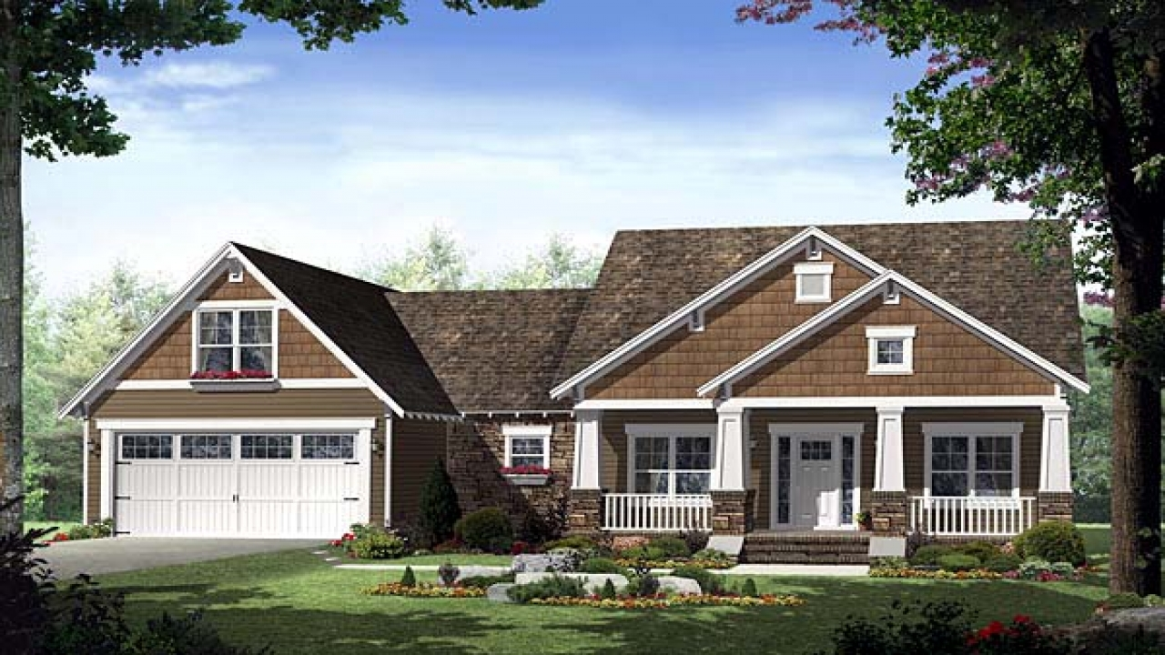 Single story craftsman house plans home style craftsman for Single story cape cod house plans