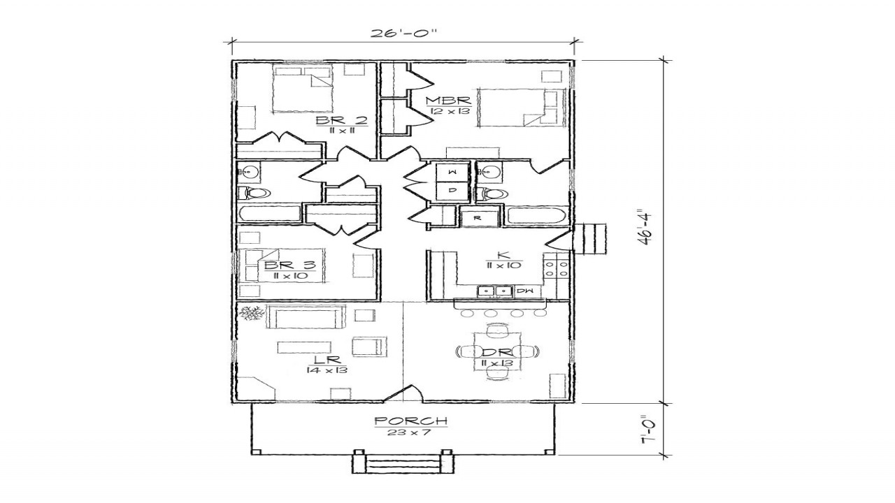 Bungalow cottage narrow lot plan narrow plan bungalow for Narrow lot 4 bedroom house plans