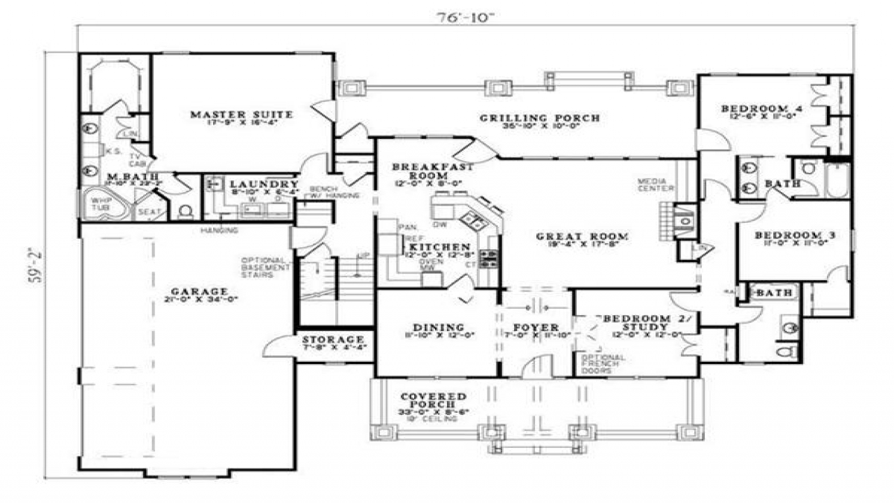 Craftsman style house plan four bedrooms plan 153 1020 for Craftsman style flooring