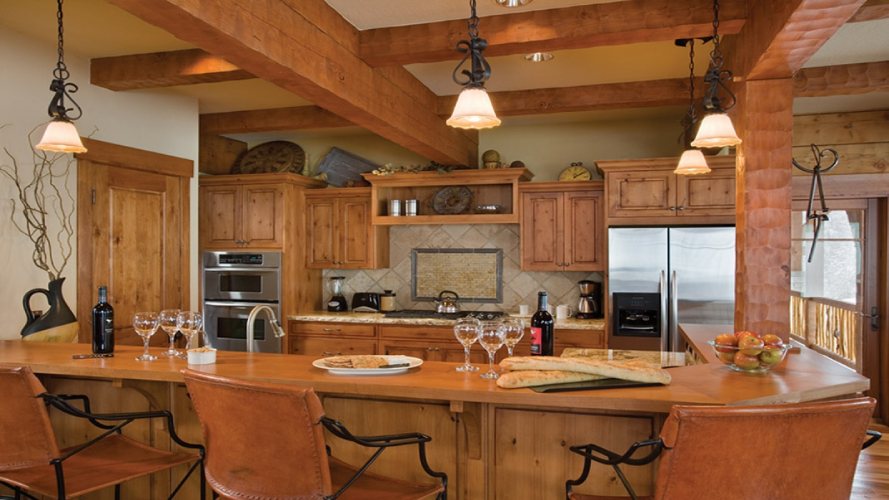 Log Home Kitchen Islands With Seating Log Home Kitchen