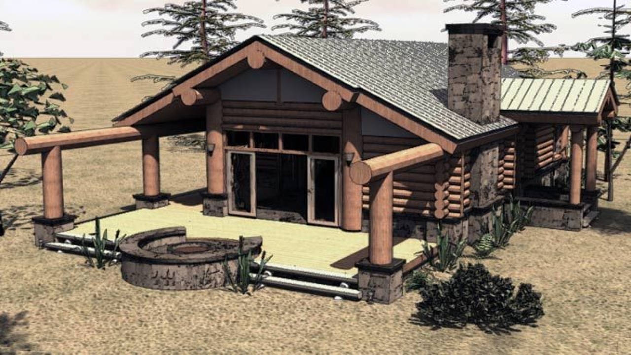 Tiny Log Home Designs: One Story Log Cabin House Plans Inside A Small Log Cabins