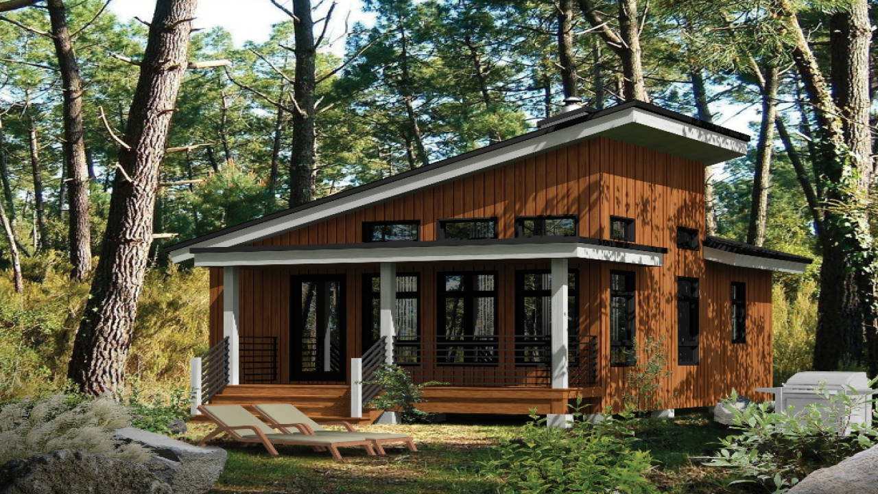 Small modern cabins contemporary small cabin house plans for Modern cabin house plans