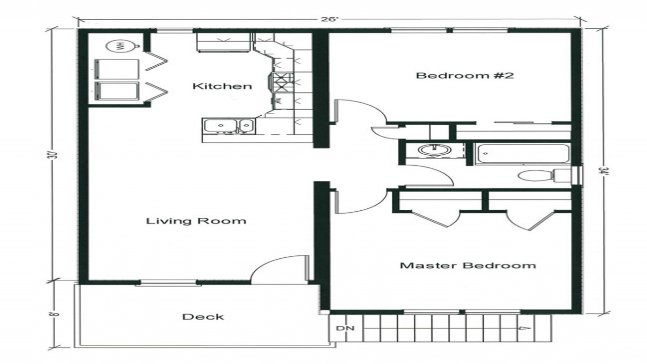 Two bedroom open floor plans small two bedroom floors two for 16x40 house plans