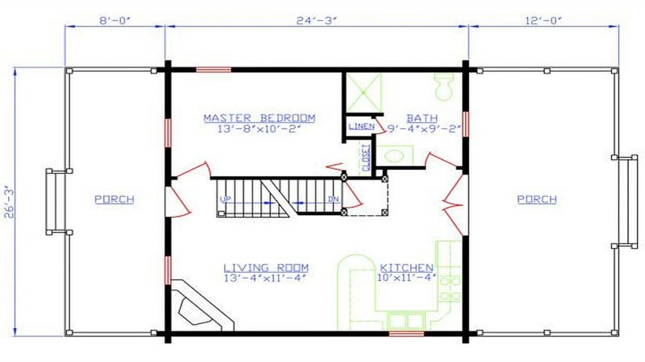 Foundation plans 2 bedroom 1 bath 2 bedroom 1 bath floor for One bedroom log cabin plans
