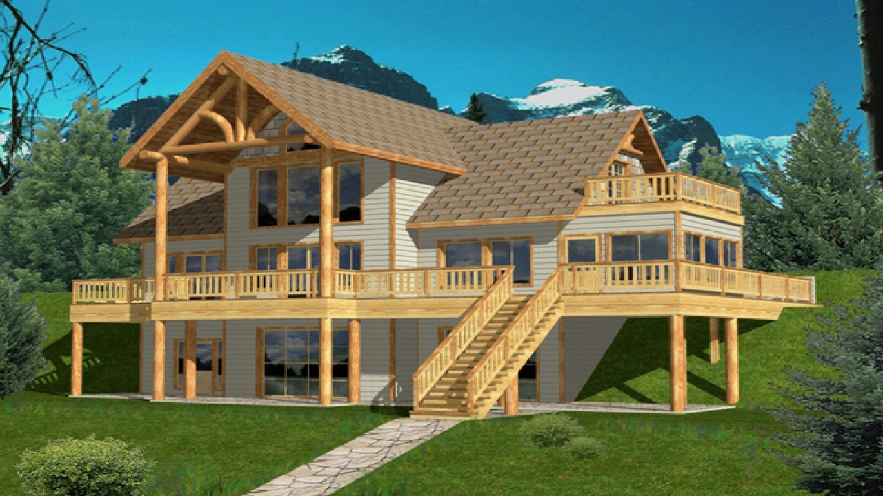hillside house plans hillside house plans rear view lake. Black Bedroom Furniture Sets. Home Design Ideas