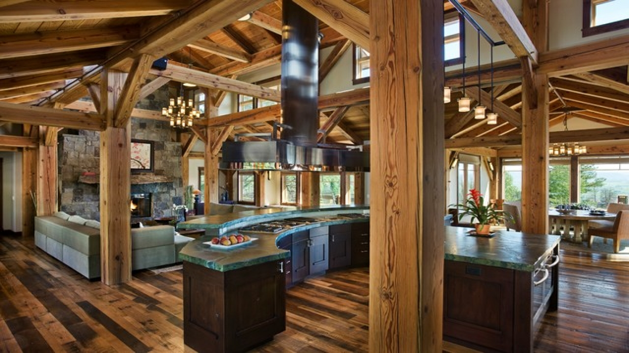 Rustic Living Room Kitchen Open Floor Plans Shabby Chic