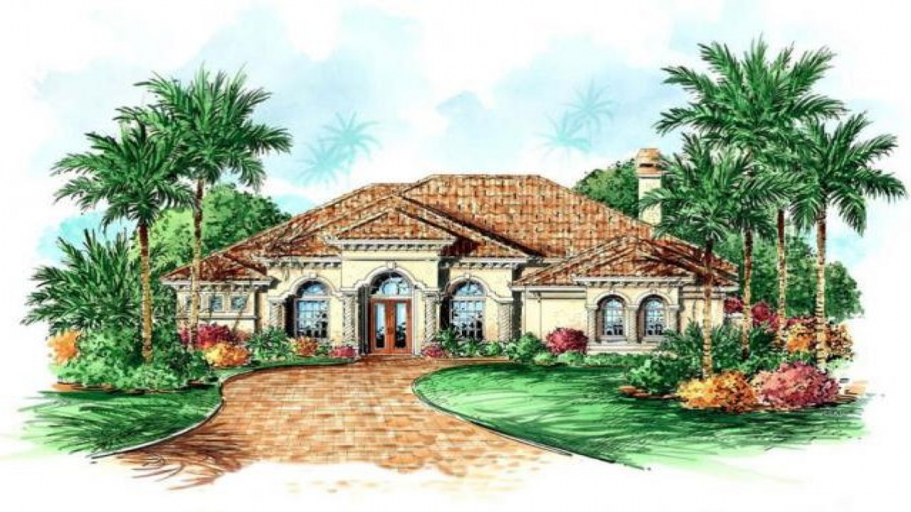 Single story mediterranean house plans single story front for Mediterranean house plans with basement