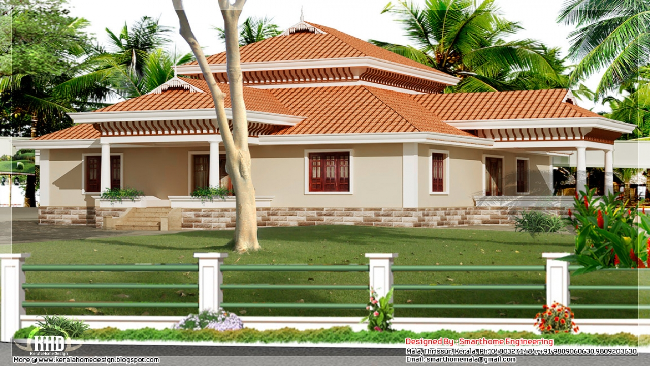 Kerala Style Single Storey House Design Craftsman Bungalow