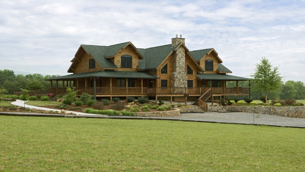 Log cabin plans with wrap around porches open floor plans for Open floor plans log homes