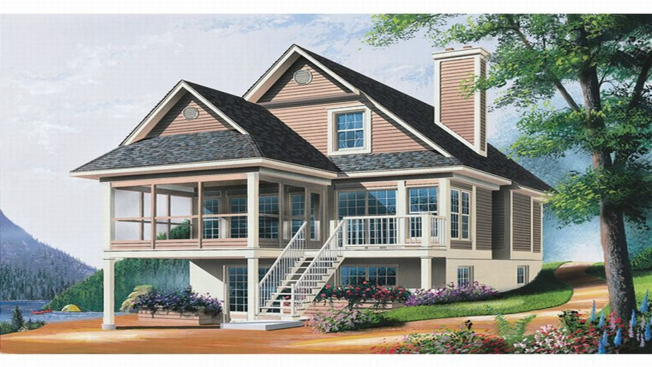 Waterfront homes house plans ranch house plans waterfront for House plans for narrow lots on waterfront