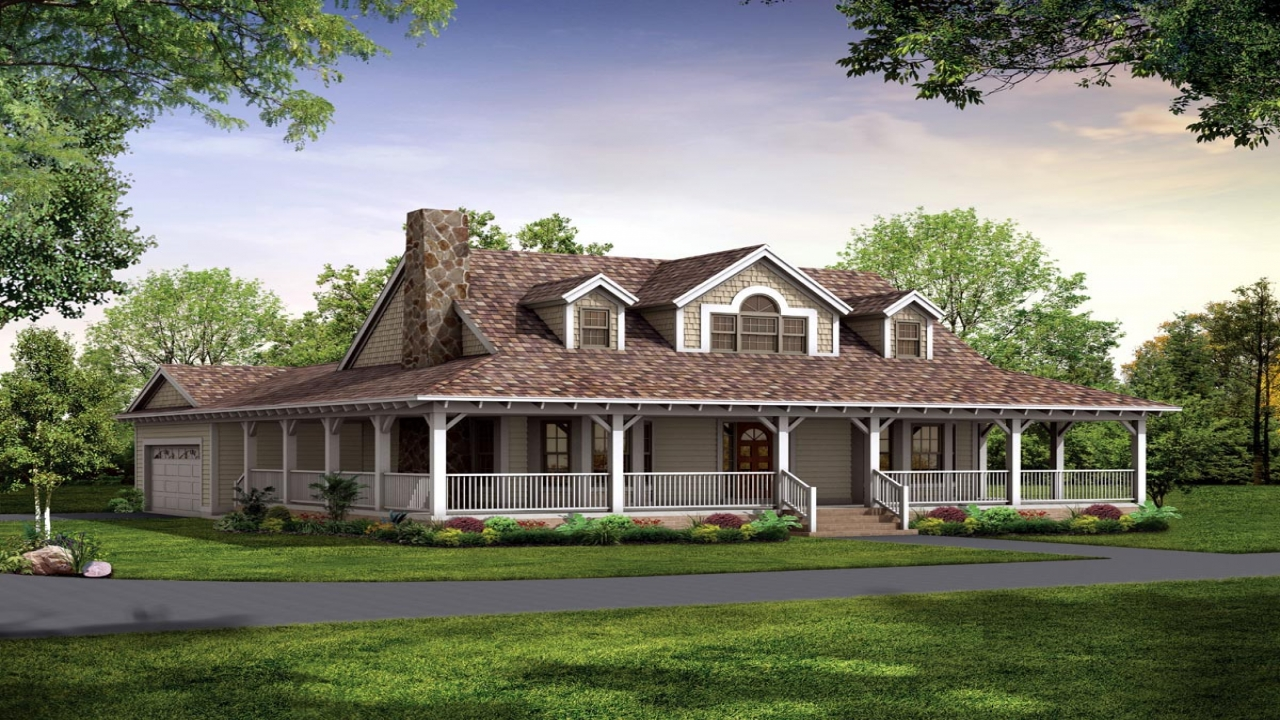 Country house plans with porches one story country house for Country style homes with wrap around porch