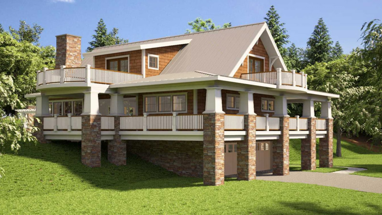 Hillside house plans with walkout basement hillside house for Sloped lot home designs