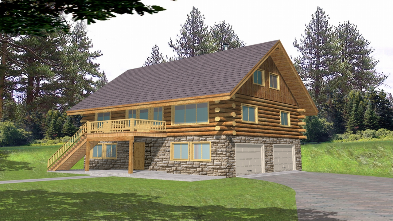Log cabin home floor plans with garage small log cabin for Log cabin garage plans