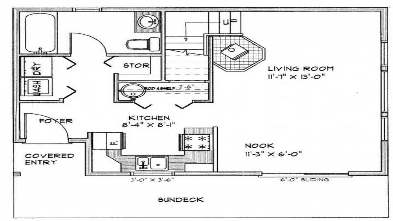 Simple small house floor plans small cabin floor plans for Simple bungalow house design with floor plan