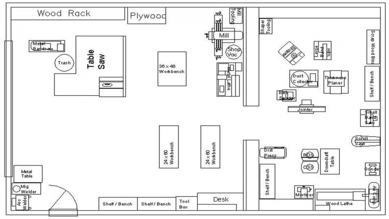 Woodworking Shop Layout Plans 16 X 24 Small Woodworking