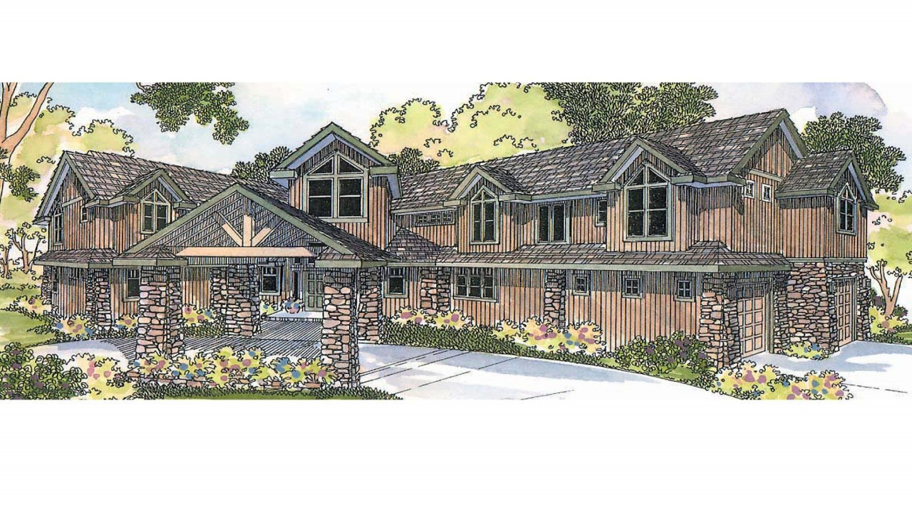 Lodge style house plans bentonville 30 275 associated for Mountain lodge home plans
