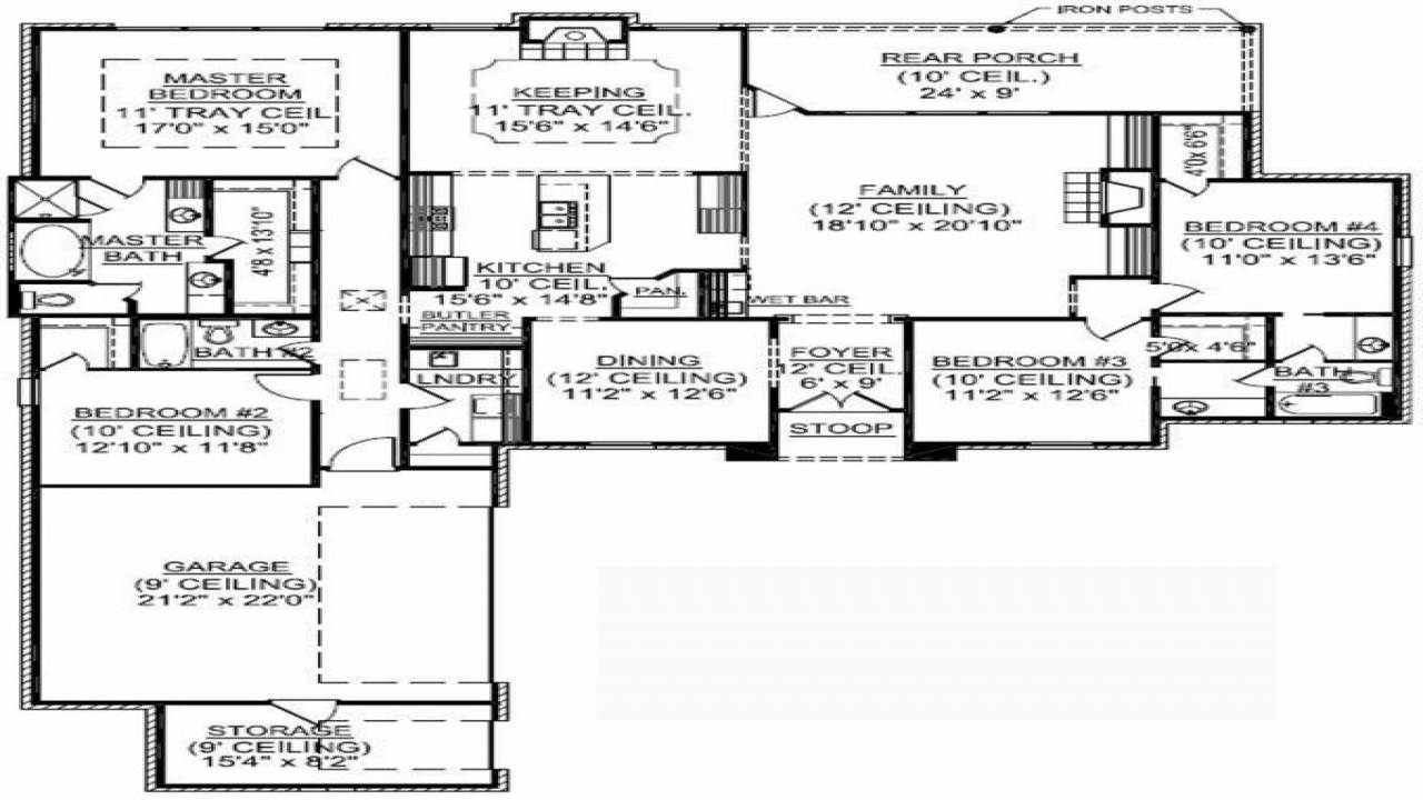 4 Bedroom Single Family 4 Bedroom One Story House Plans