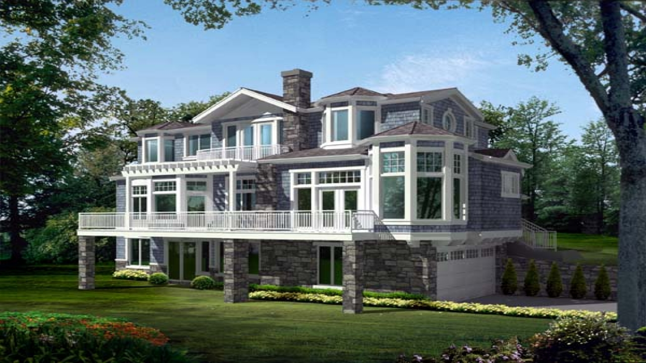 Narrow lot house plans lakefront lakefront house plans for for Waterfront home plans sloping lots