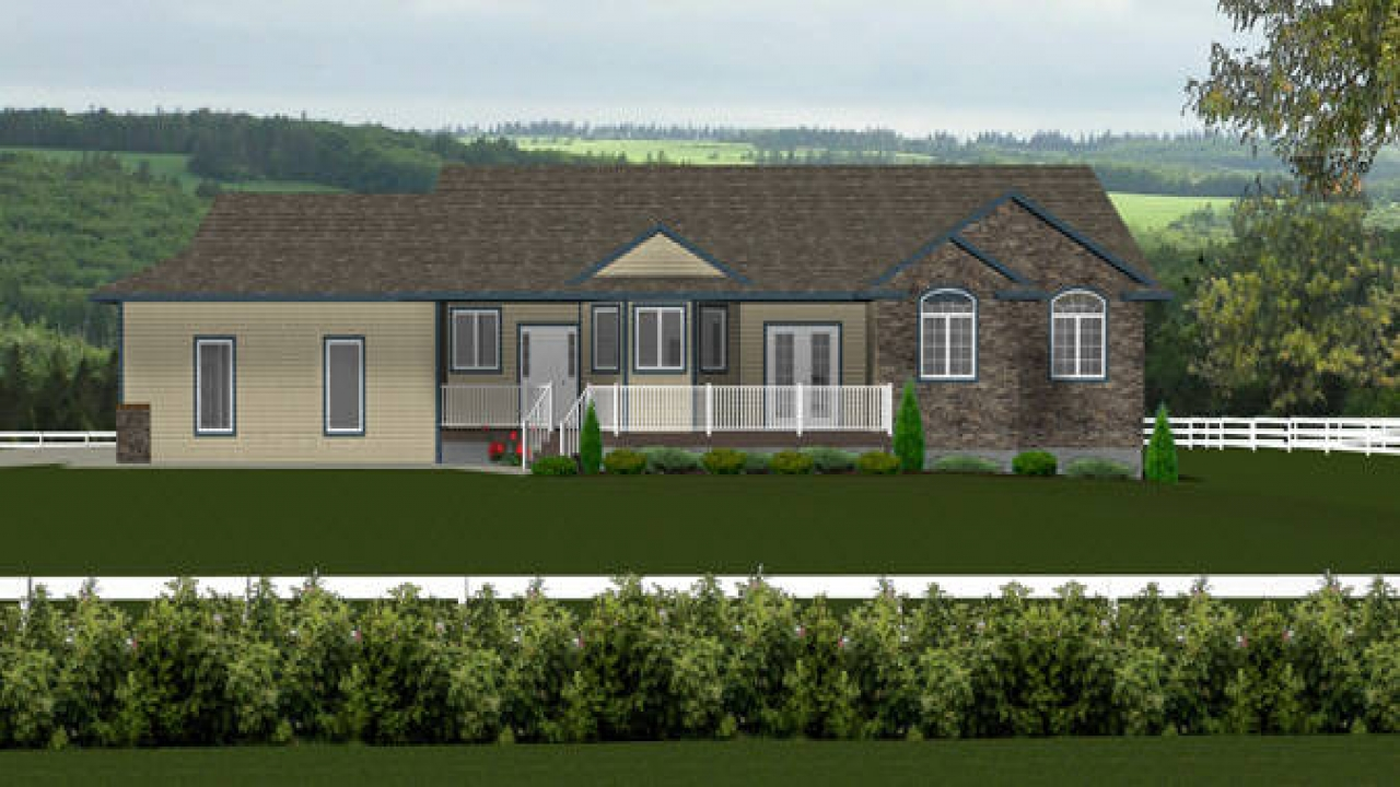 Plan 2011571 front elevation ranch style bungalow for Ranch bungalow plans