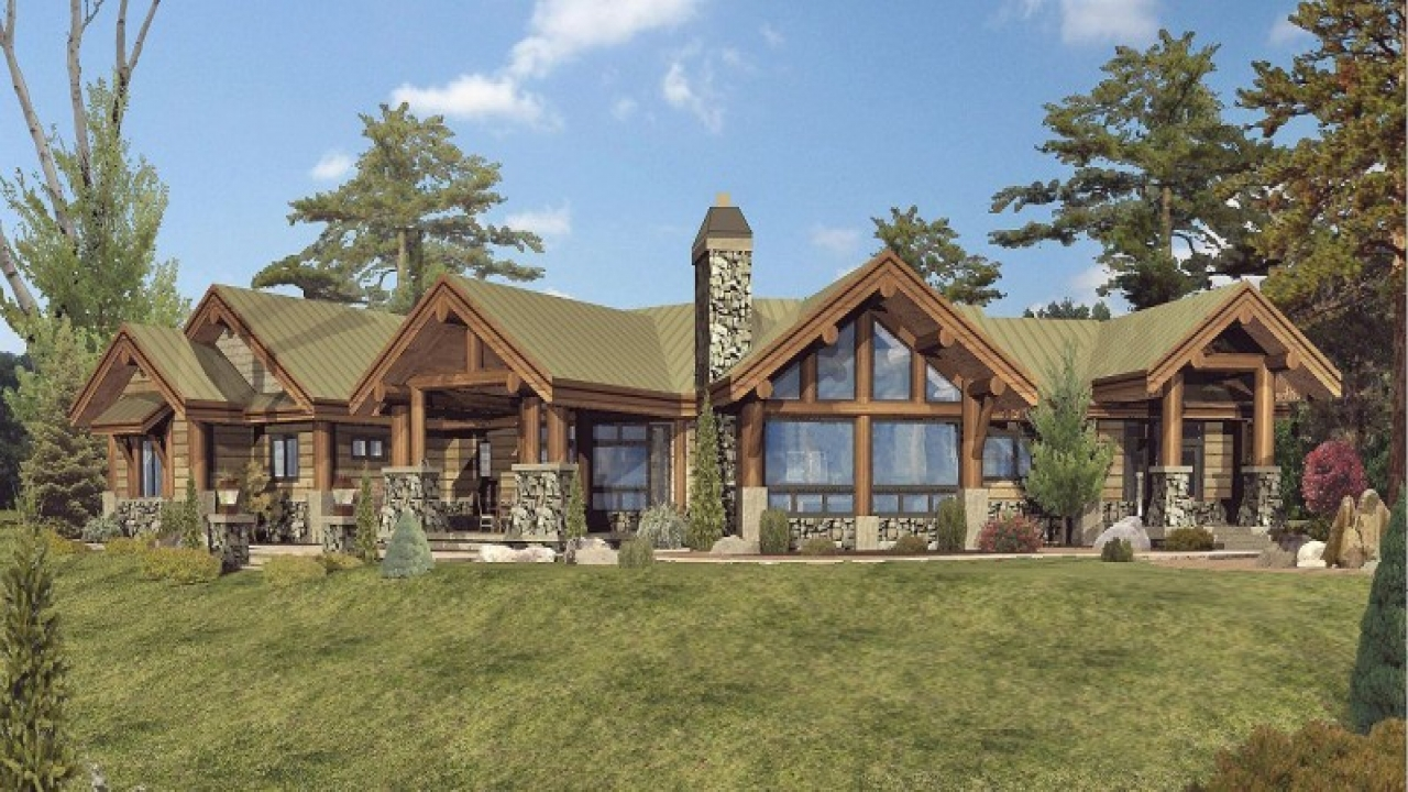 Single story log home designs large one story log home for Ranch log home plans