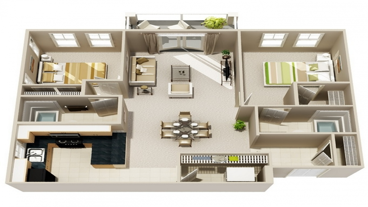 Small 2 bedroom apartment interior small 2 bedroom for Two bedroom flat floor plan