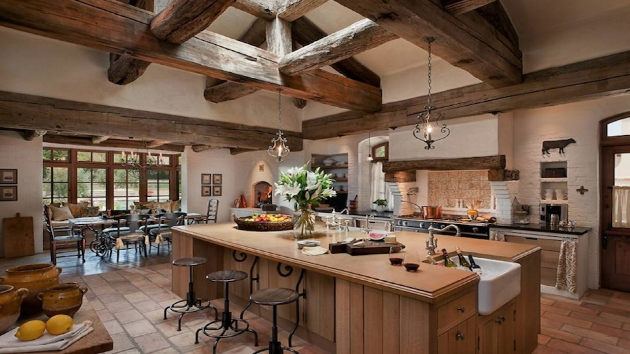 Country style kitchen designs farmhouse country kitchen for Country themed kitchen ideas