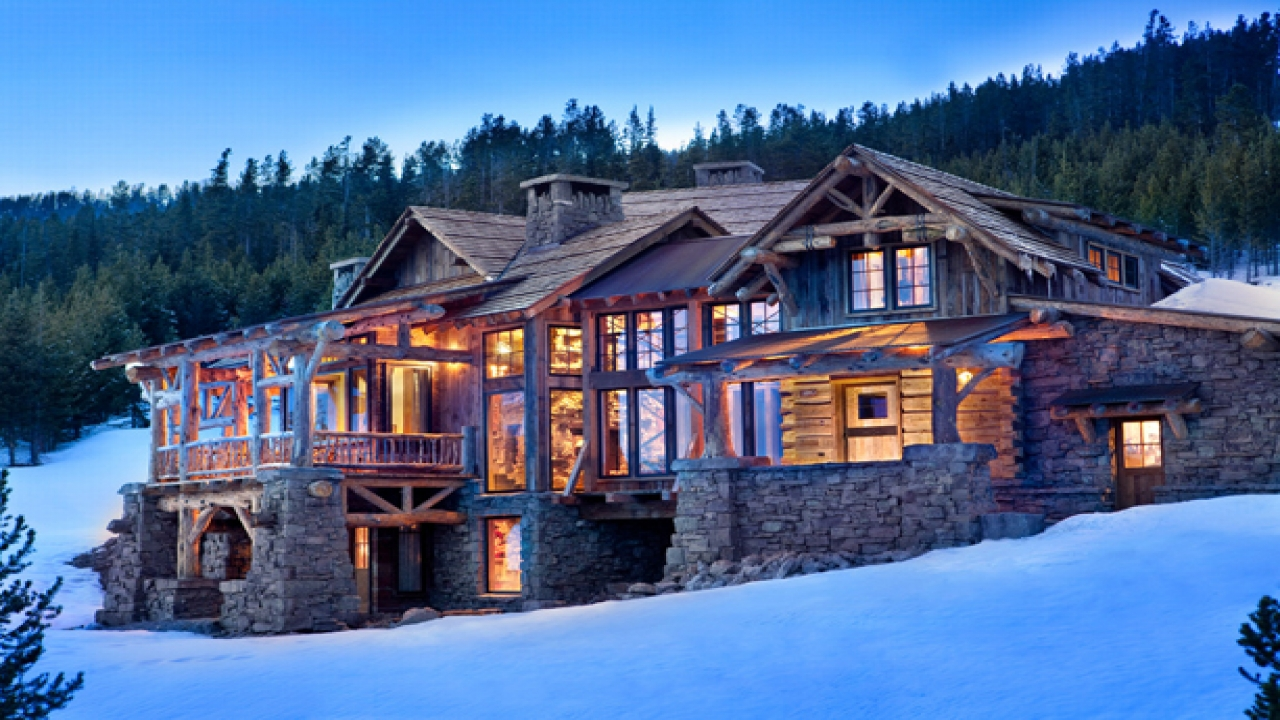 Mountain home lodge exterior design mountain lodge homes for Mountain lodge home plans