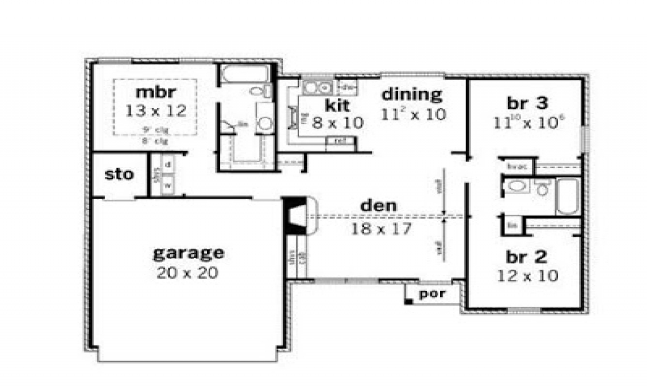 3 bedroom tiny house plans simple small house floor plans 3 bedroom simple small 17993