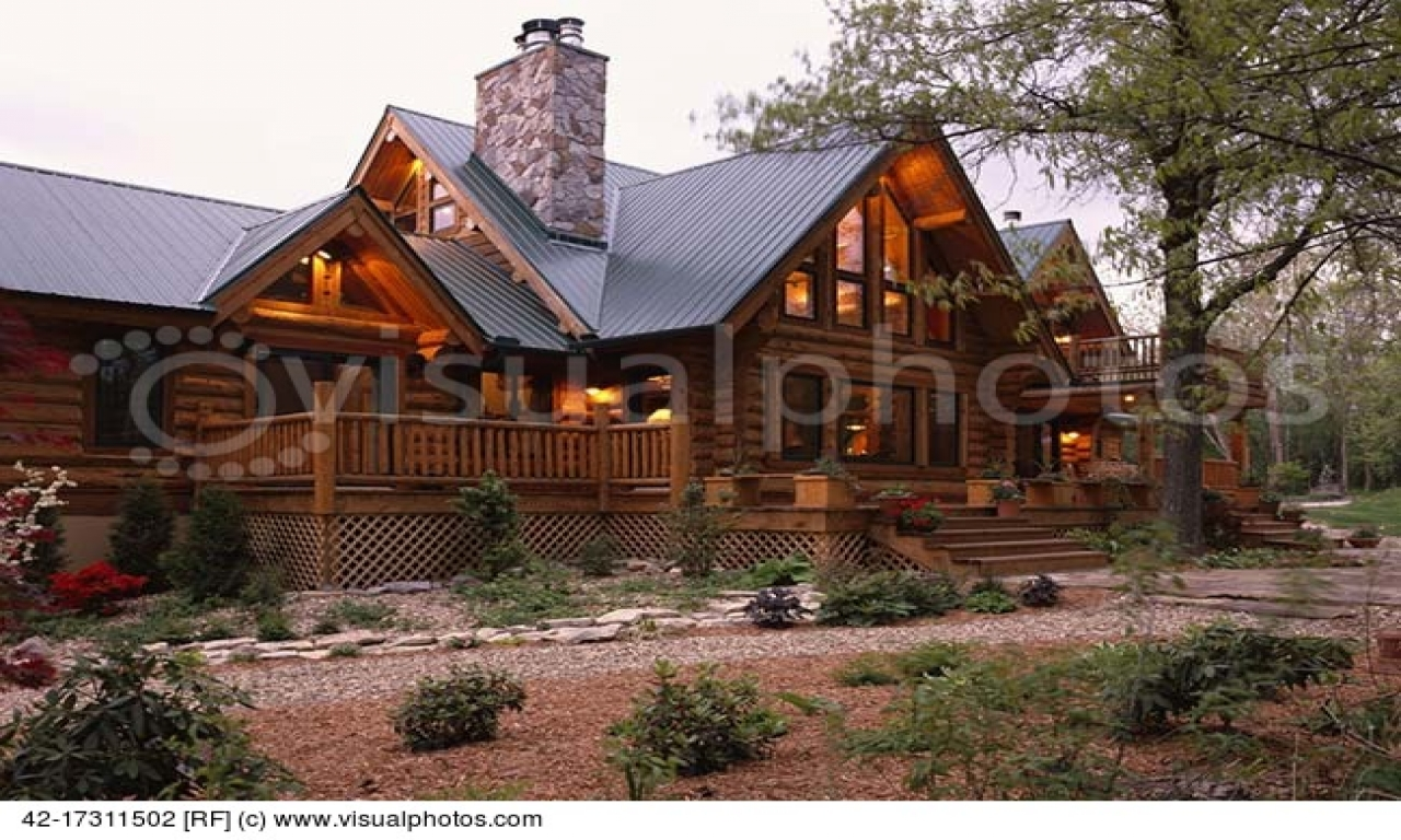 Large log home with metal roof luxury log homes large log for Large luxury log homes