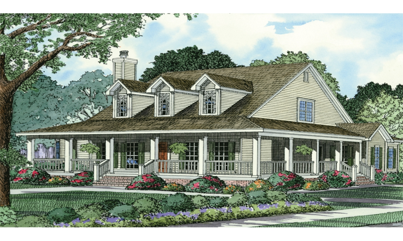 French country house plans country style house plans with for Country style homes with wrap around porch