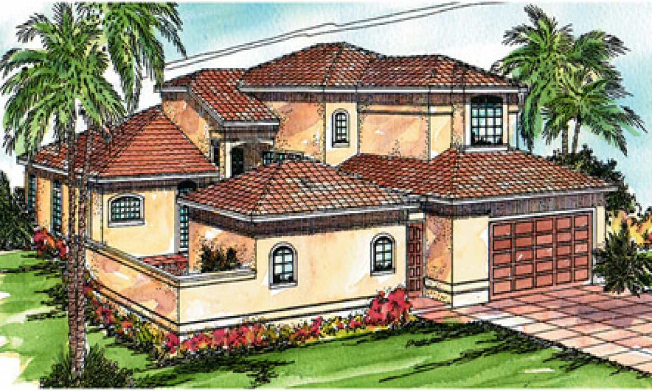 Mediterranean House Plans With Pools One Story