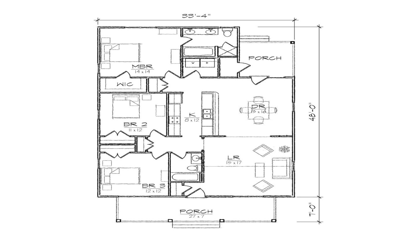 Single story open floor plans small bungalow floor plans for One story cottage house plans