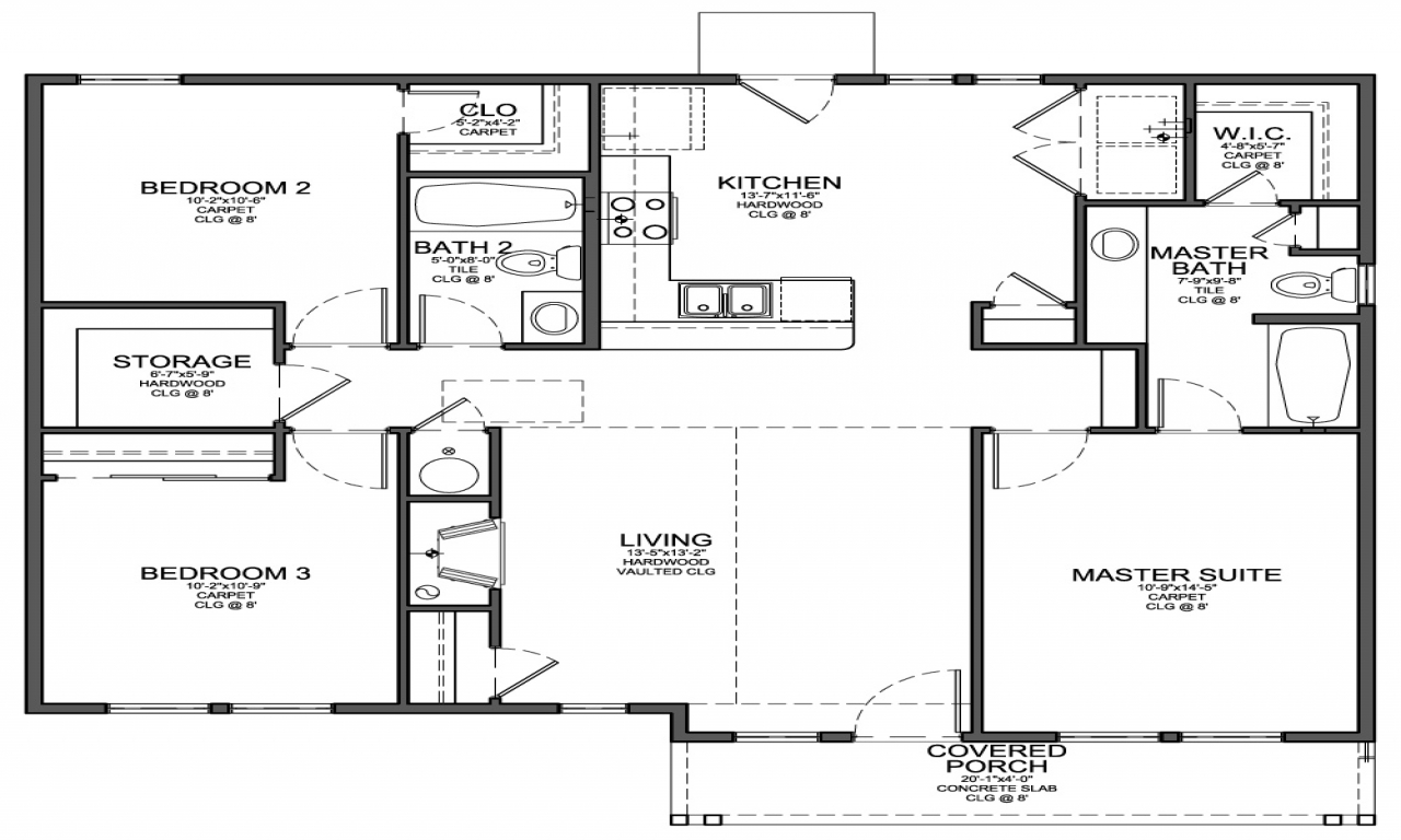 3 Bedroom House Layouts Small 3 Bedroom House Floor Plans Home Building Plans And Cost