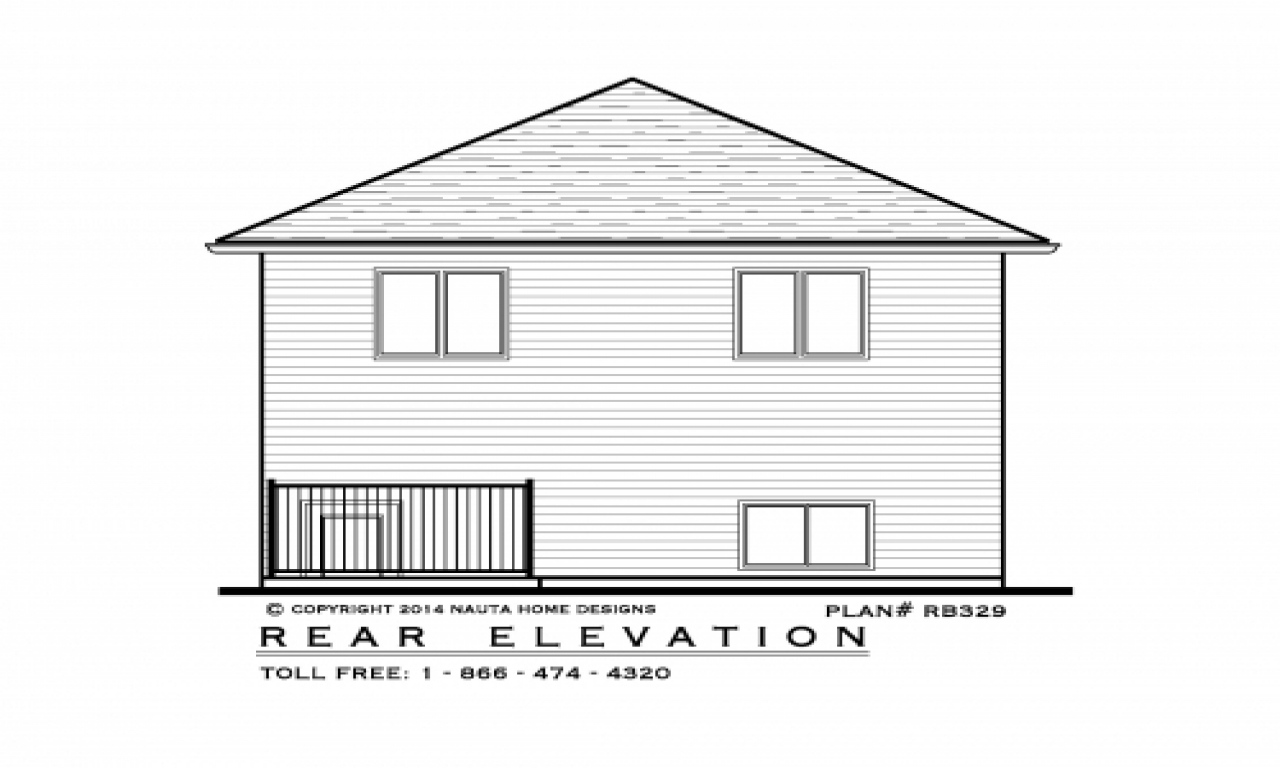 Bungalow Elevation Plan : Raised bungalow house plan rb rear elevation s