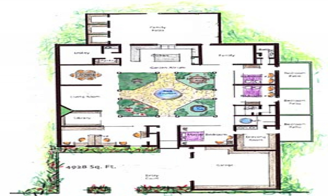 House plans with atrium garden homes with atriums floor for Atrium ranch floor plans