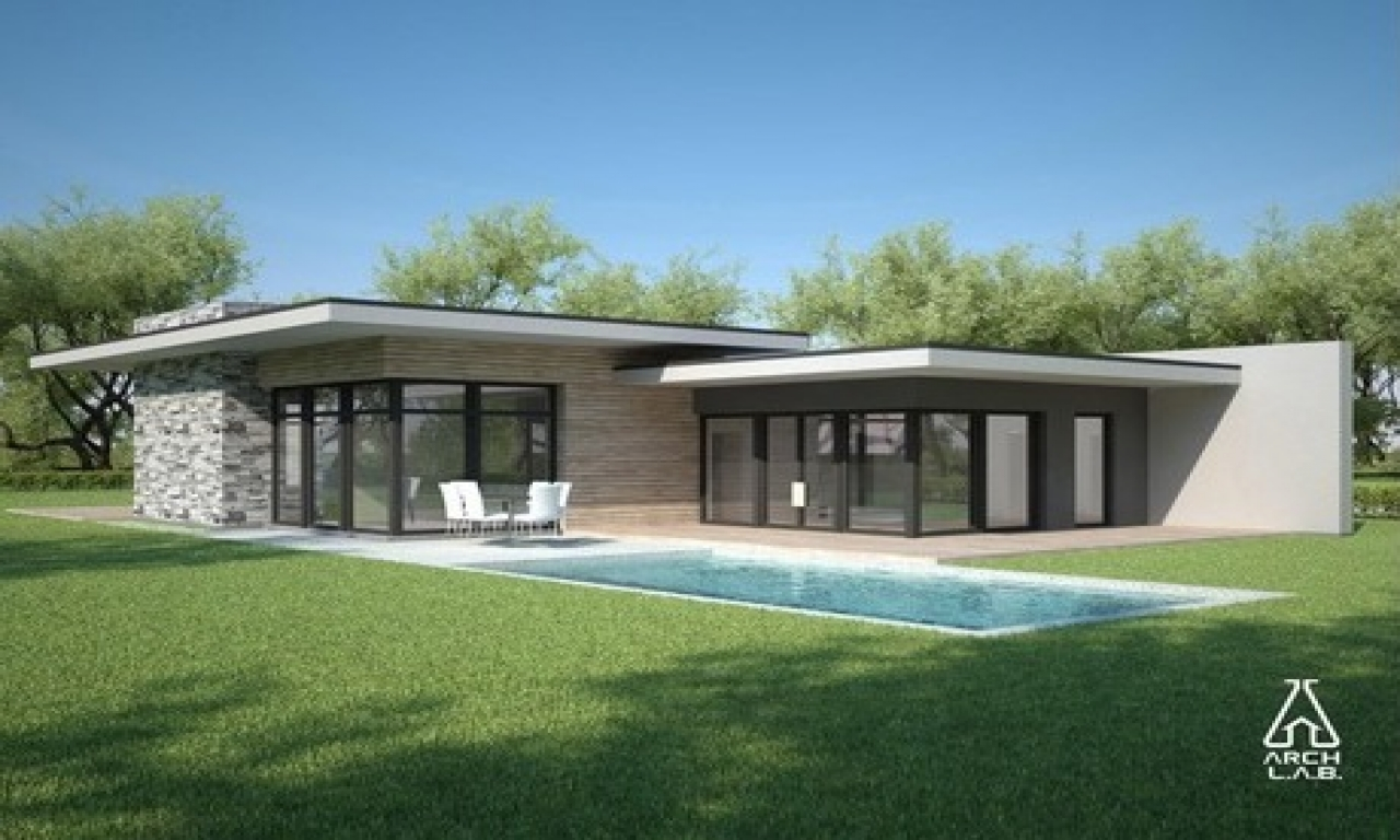 Ranch Style Home Plans With Double Story Flat Roof House: Flat Roof Style Homes Flat Roof Modern House Plans One