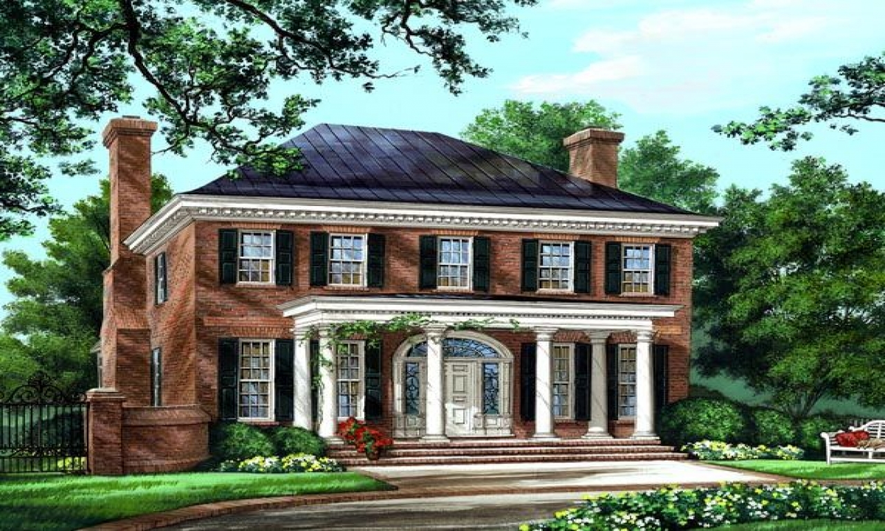 American colonial house plans southern colonial house for Historic southern home plans