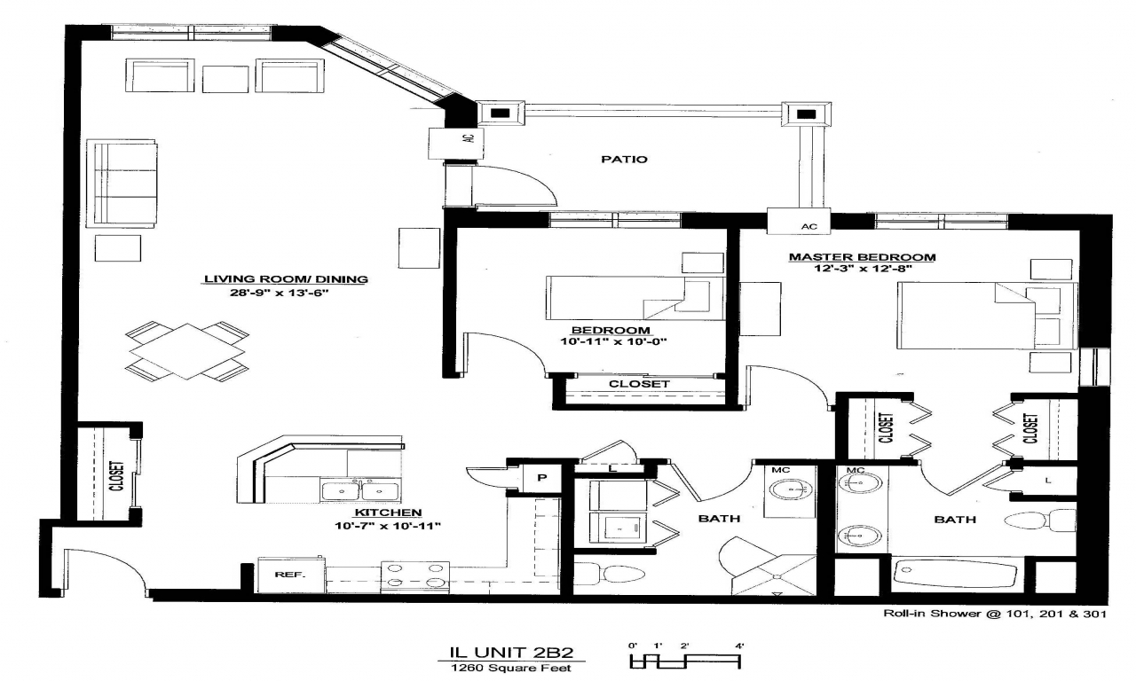 Luxury 2 bedroom apartment floor plan luxury 2 bedroom for Two bedroom flat floor plan