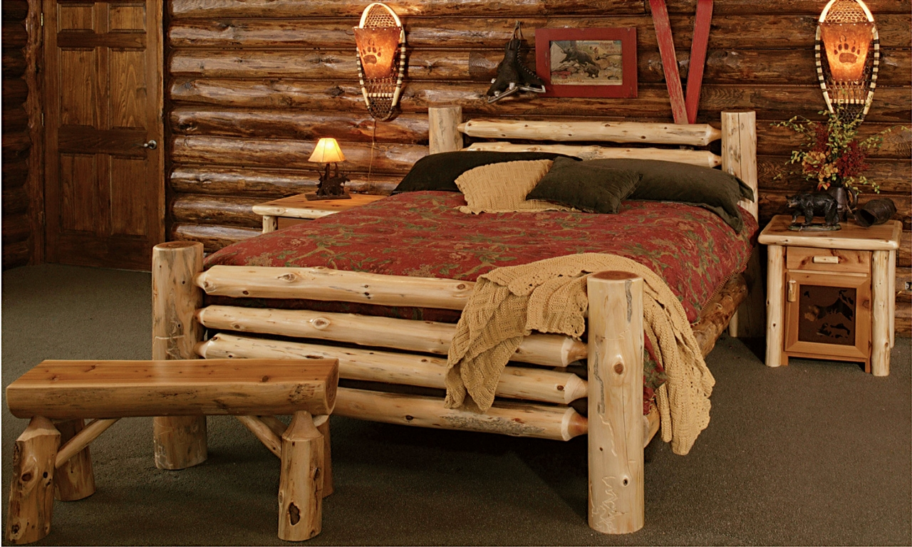 Rustic style bedroom furniture rustic log bedroom for Log cabin style bunk beds