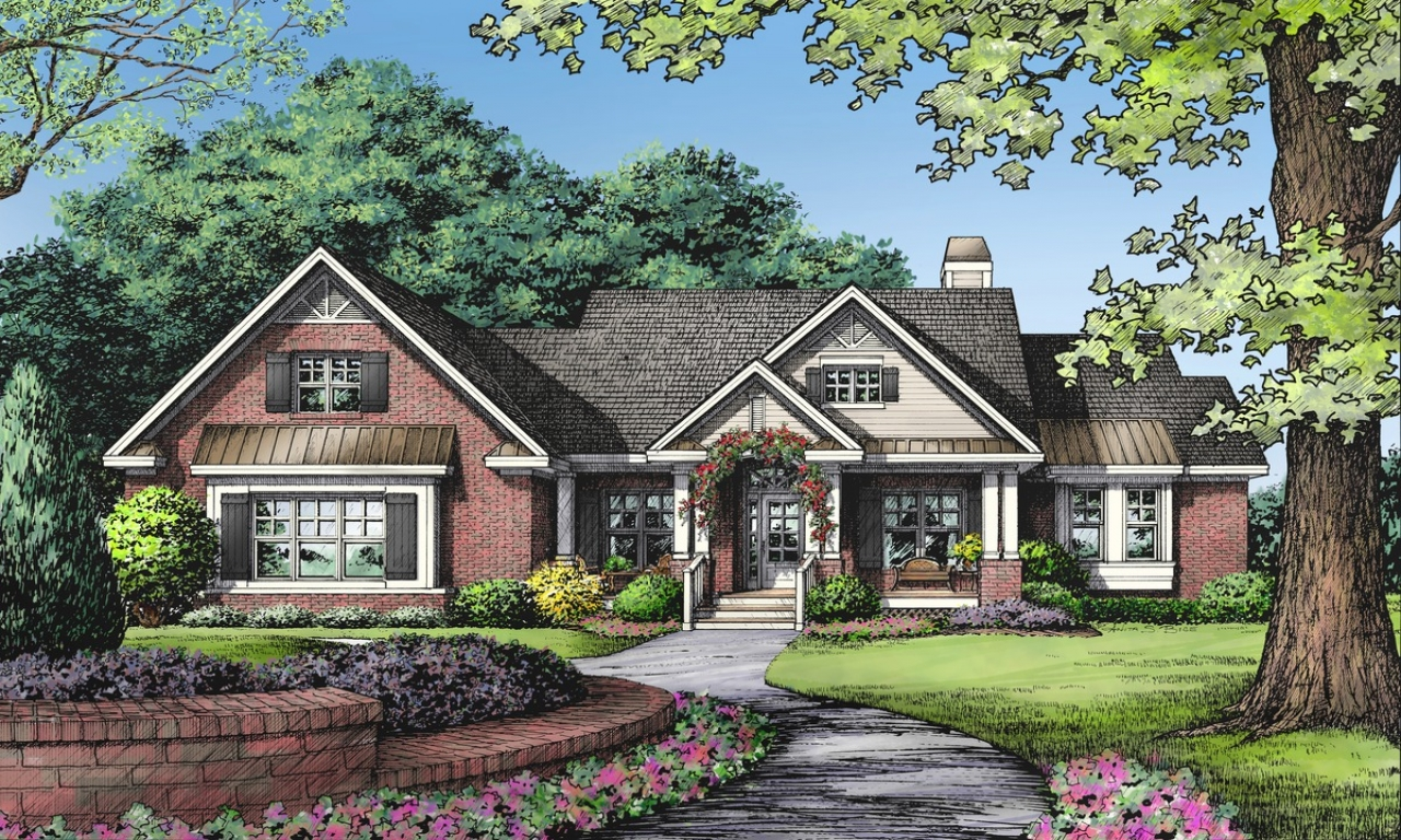 One story brick ranch house plans one story ranch style 1 for Small 1 1 2 story house plans