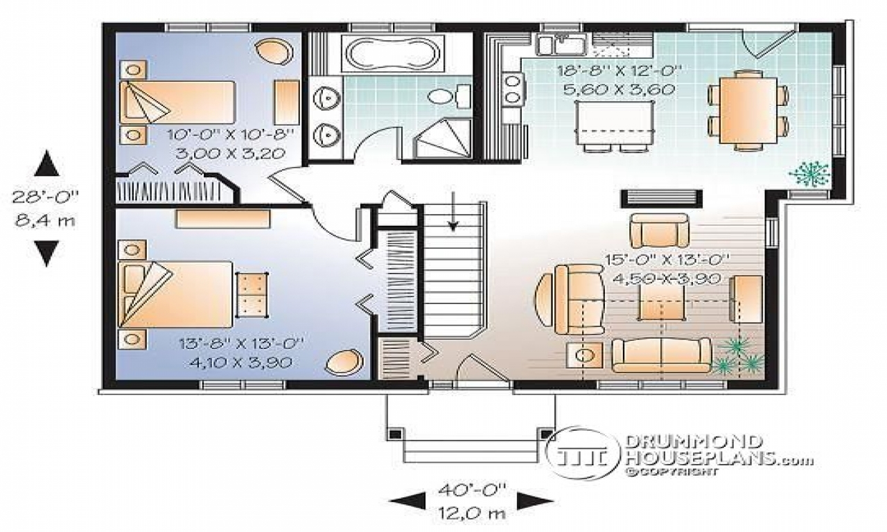 2 bedroom single level house plan split level teen for Small single level house plans