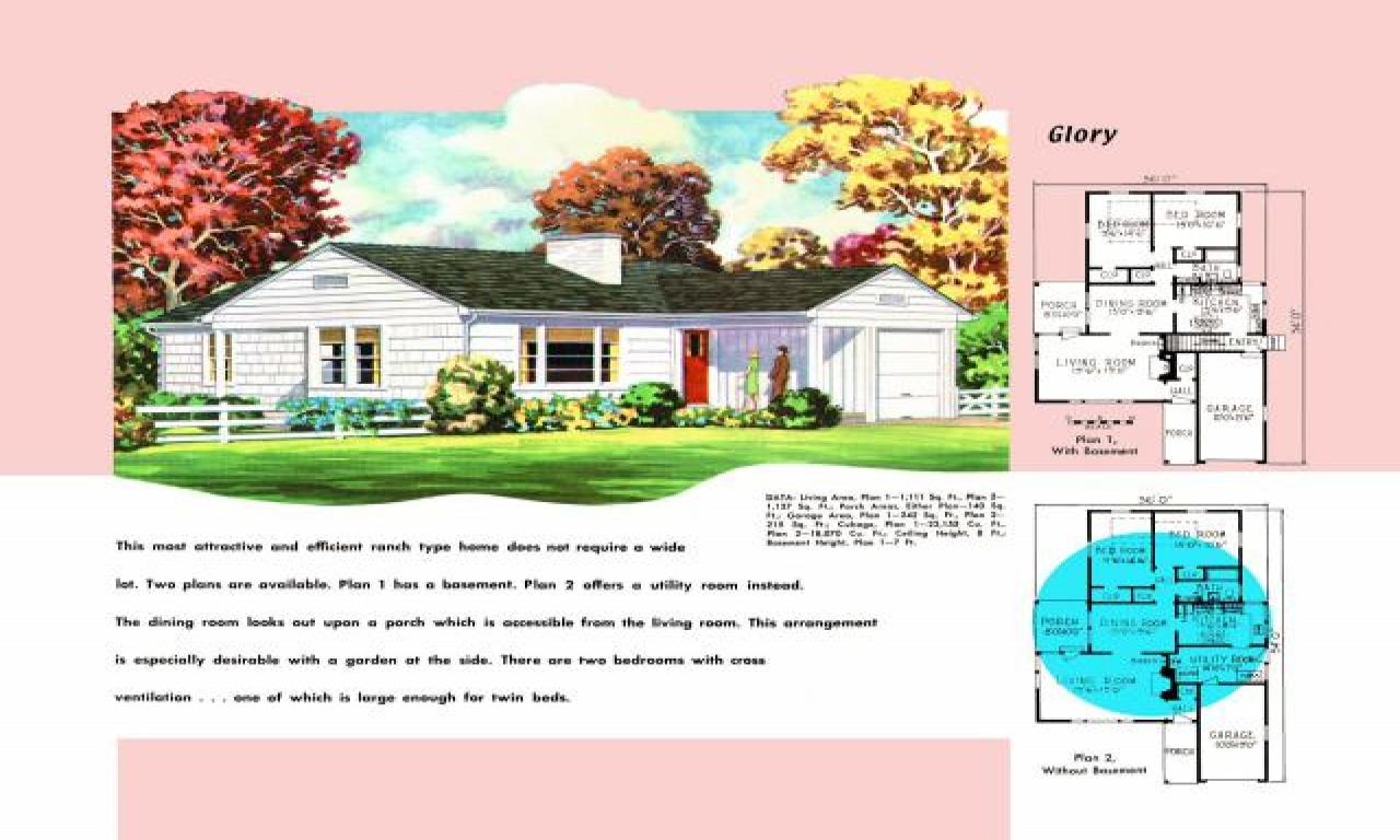 1950s ranch style home plans 1950s brick ranch style homes for Small brick ranch house plans