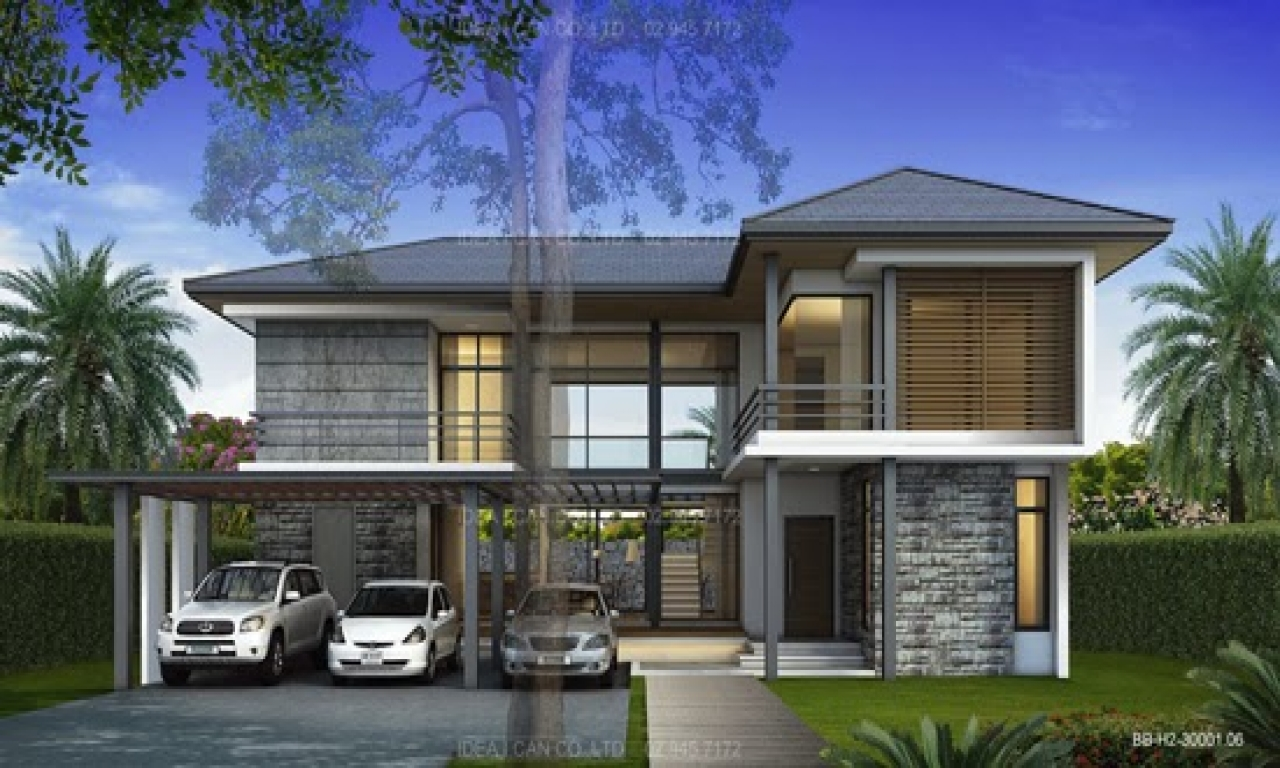 Modern style 2 story home plans for construction in thai for Modern two story homes