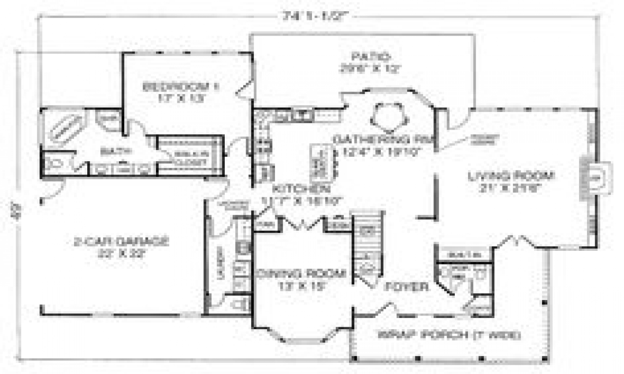 Old fashioned farmhouse floor plans floor plan more old for Ranch farmhouse floor plans