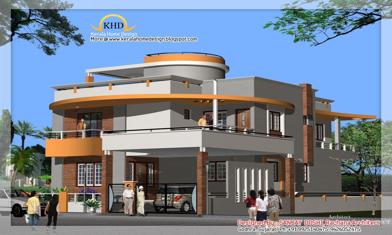 Best duplex house elevation design india split level house for Duplex home designs in india
